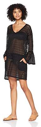 Calvin Klein Women's Crochet Swimsuit Cover up Tunic With Bell Sleeve