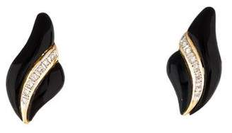 14K Onyx & Diamond Earrings