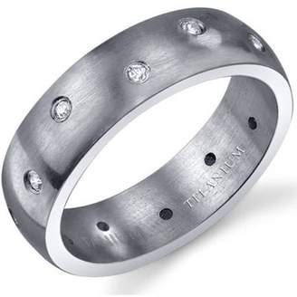 Oravo 6mm Men's Eternity Titanium Wedding Band Ring