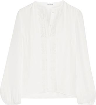 Oscar de la Renta - Lace-trimmed Silk Blouse - Ivory $1,490 thestylecure.com