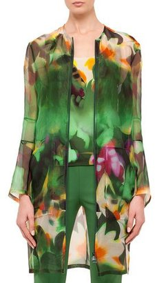 Akris Grand Hedge Floral-Print Silk Organza Topper Jacket, Multi $3,990 thestylecure.com