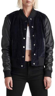 Hudson Leather Cord Varsity Bomber Jacket