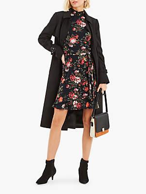 Oasis Winter Rose Sheared Neck Dress, Multi Blue