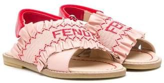 Fendi frill strap sandals
