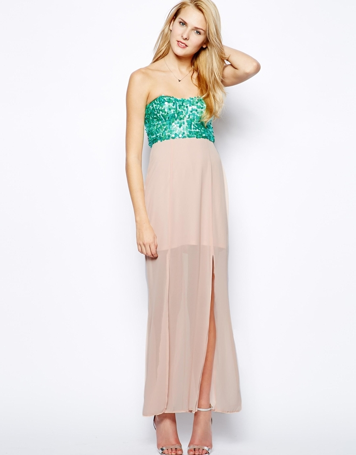 Paradis London Sequin Top Maxi Dress