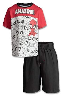 Spiderman Short Sleeve Colorblock Graphic T-shirt & Knit Short, 2pc Outfit Set ( Todddler Boys)