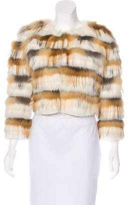 Carmen Marc Valvo Fox Fur Evening Jacket