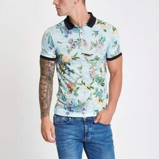 River Island Mens Light green floral muscle fit polo shirt