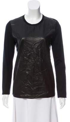 Reed Krakoff Leather Contrast Long Sleeve Top