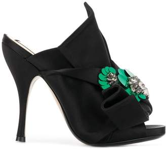 No.21 embellished abstract bow stiletto mules