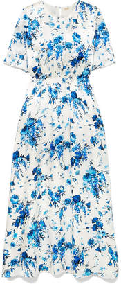 ADAM by Adam Lippes Floral-print Hammered-silk Maxi Dress - Blue