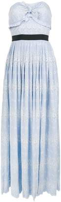 Self-Portrait strapless pleated long dress