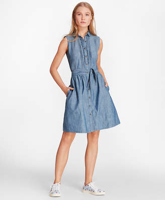 Brooks Brothers Pintucked Cotton Chambray Shirt Dress
