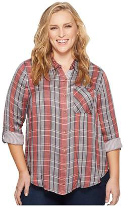 Lucky Brand Plus Size Plaid Shirt Women's Clothing