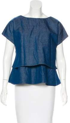Co Short Sleeve Chambray Top