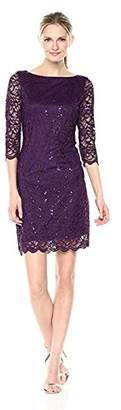 Tiana B Women's Lace 3/4 Sleeves Bodycon Sheath Dress W/Scalloped Trim