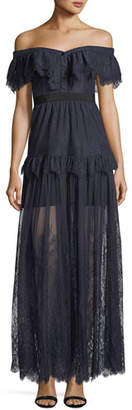 Self-Portrait Off-the-Shoulder Fine Lace Cocktail Maxi Dress