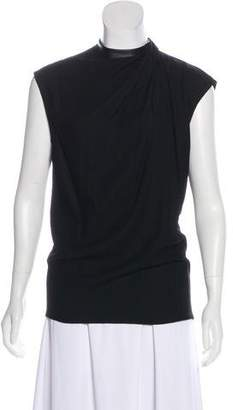 Helmut Lang Leather-Trimmed Sleeveless Blouse