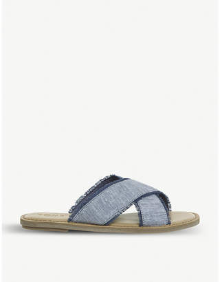 Officine Creative Viv frayed canvas sliders
