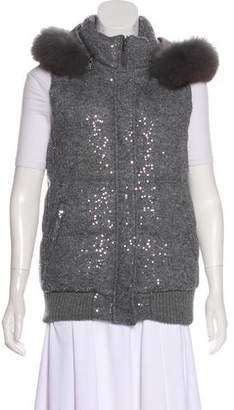Alice + Olivia Embellished Hooded Vest