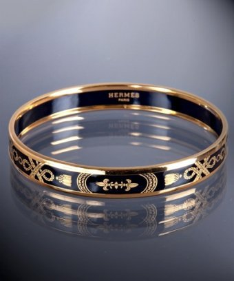 Hermes black enamel 'Apparat' small bangle