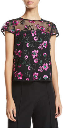 Milly Cap-Sleeve Floral-Embroidered Tulle Tee