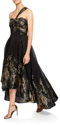 Marchesa Draped One-Shoulder High-Low Metallic Fil Coupe Gown