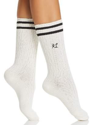 Ralph Lauren Stripe-Cuff Cable Knit Socks