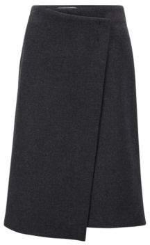 BOSS Hugo Italian wool-blend wrap skirt bar-tack detail 4 Black