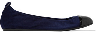 Lanvin - Leather-trimmed Suede Ballet Flats - Navy $570 thestylecure.com