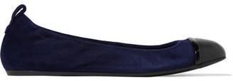 Lanvin - Leather-trimmed Suede Ballet Flats - Navy $570 thestylecure.com