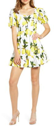 ENGLISH FACTORY Lemon Print Puff Sleeve Stretch Cotton Minidress