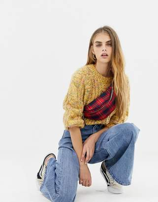 Pull&Bear cable knit sweater in yellow