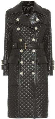 Balmain Quilted leather coat