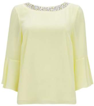 Wallis Petite Yellow Embellished Top