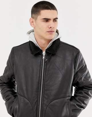 Bellfield leather aviator jacket with borg lining in black