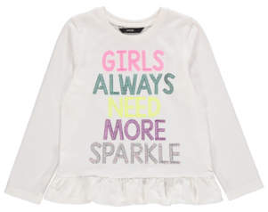 George White Sequin Slogan Long Sleeve Top