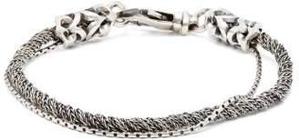 Emanuele Bicocchi Double Chain Sterling Silver Bracelet - Mens - Silver