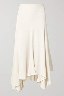 By Malene Birger Asymmetric Pleated Crepe Midi Skirt - Cream