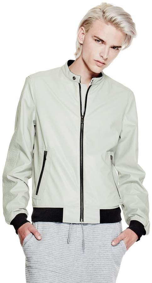 GUESS Faux-Leather Bomber Jacket
