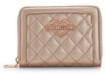 Love Moschino Metallic Logo Quilted Zip-Around Wallet