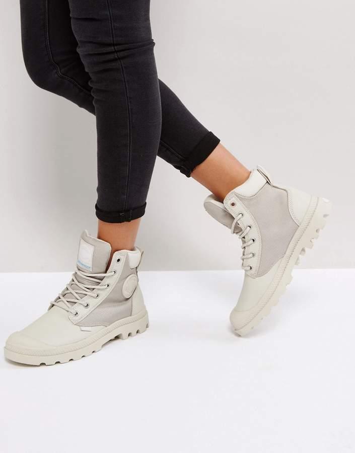 Palladium Pampa Silver Birch Sports Cuff Flat Ankle Boots