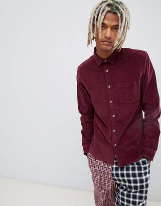 Asos Design DESIGN slim fit stretch cord shirt in burgundy