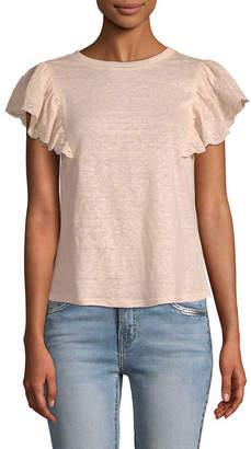 Rebecca Taylor Eyelet Ruffle T-Shirt