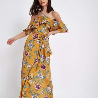 River Island Womens Yellow floral print cold shoulder maxi dress