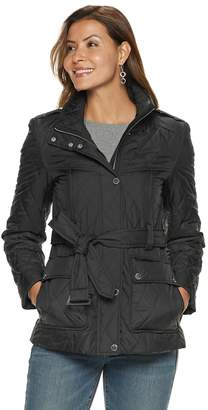 London Fog Tower By Women's TOWER by Quilted Belted Jacket