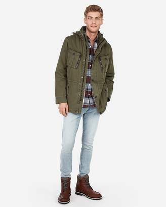Express Olive Green Garment Dyed Hooded Field Jacket
