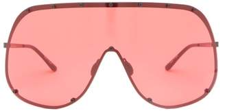 Rick Owens Mask Shield Metal Sunglasses - Womens - Red