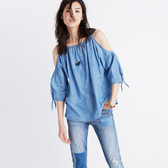 Indigo Cold-Shoulder Top $72 thestylecure.com