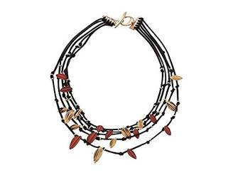 Robert Lee Morris Women's Multi Row Necklace with Leaf Detail